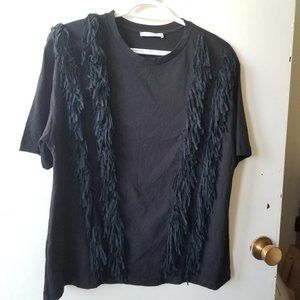 Zara Black Top with Fringe Down the Front Size L